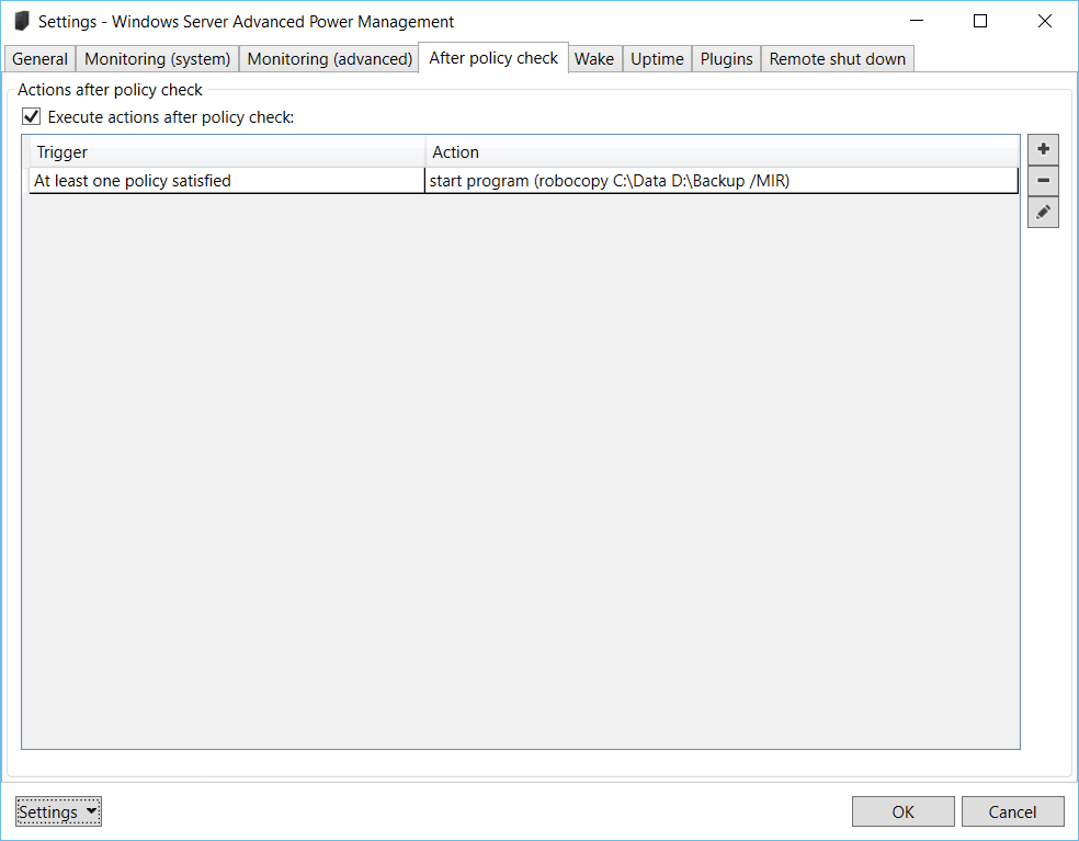 Windows Server Advanced Power Management: Settings – After policy check