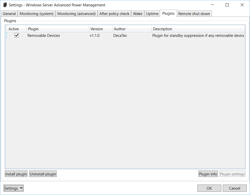 Windows Server Advanced Power Management: Settings – Plugins