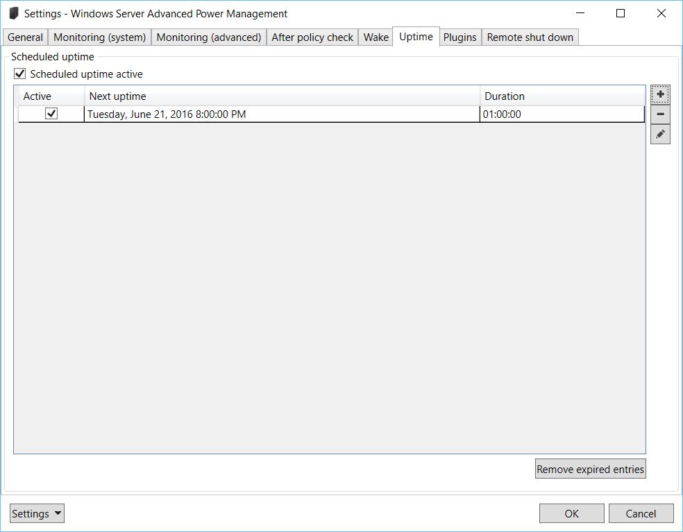 Windows Server Advanced Power Management: Settings – Uptime