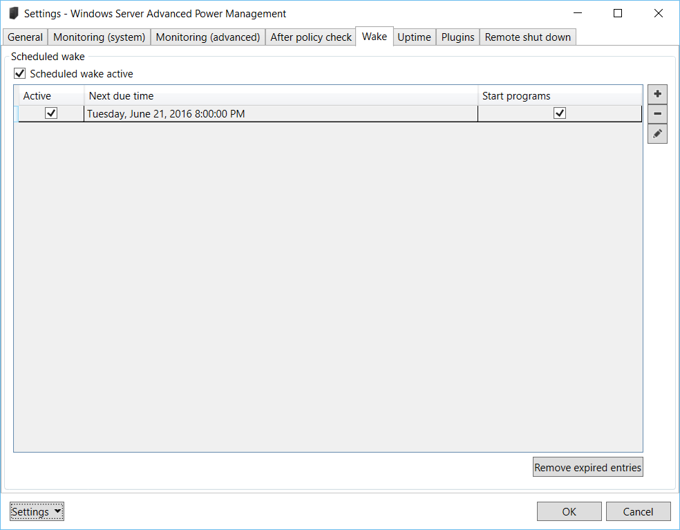 Windows Server Advanced Power Management: Settings – Wake