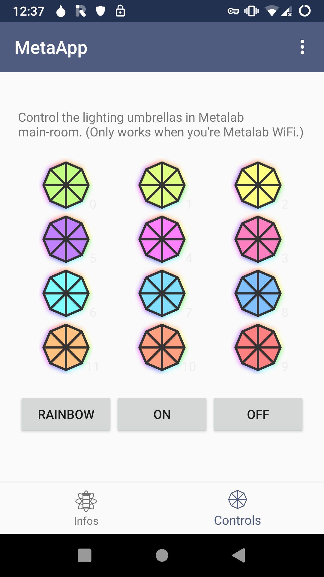 Screenshot: umbrella lighting controls