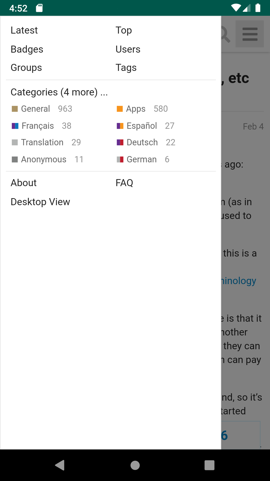 Screenshot: app menu